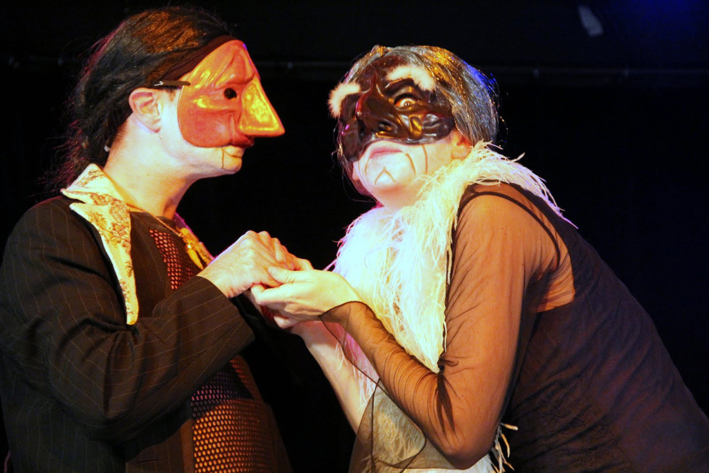 duo of characters from the commedia dell'arte, appearing a masked young first and Mme Pantolone.