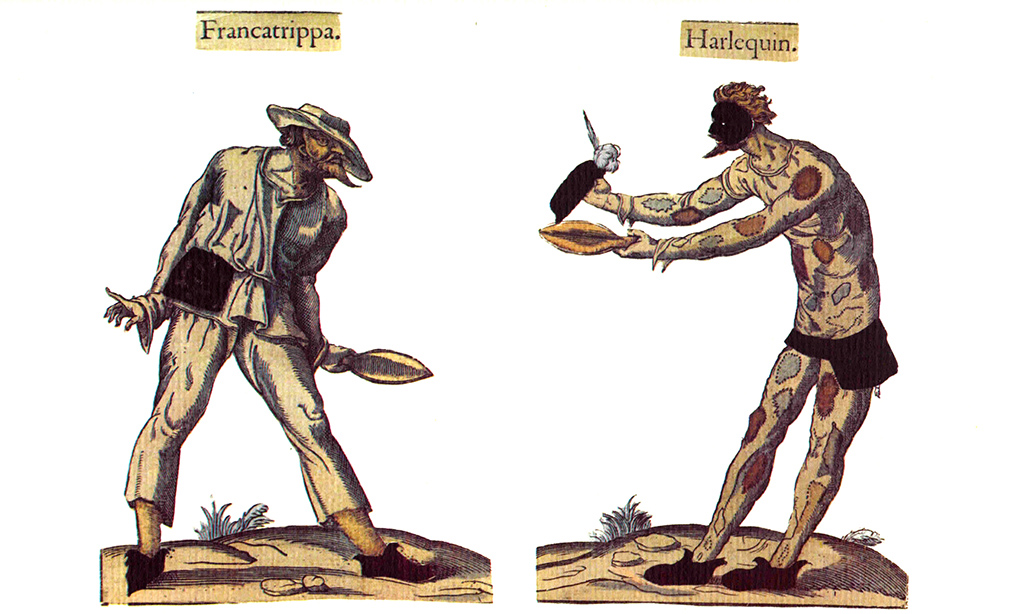 Characters of Francatrippa (probably a Zanni) Characters of Harlequin. Illustration dating from the 16th to the 17th century, taken from the Fossard collection