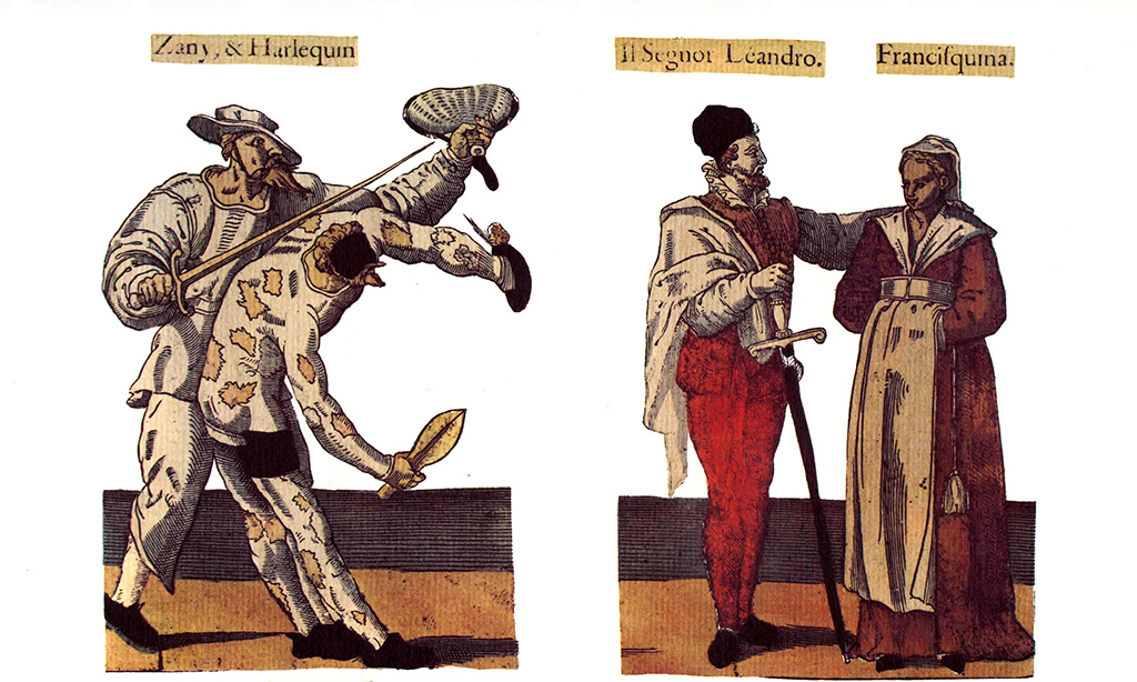 Characters of Zanni and Harlequin, Léandre and Francesquina. Illustration dating from the 16th to the 17th century, taken from the Fossard collection