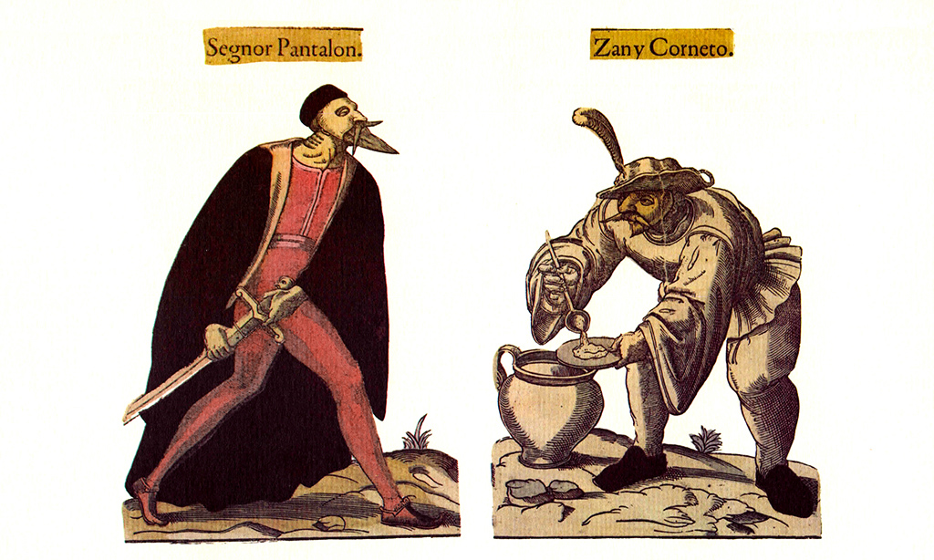 Characters of Pantalone and Zanni. Illustration dating from the 16th to the 17th century, taken from the Fossard collection
