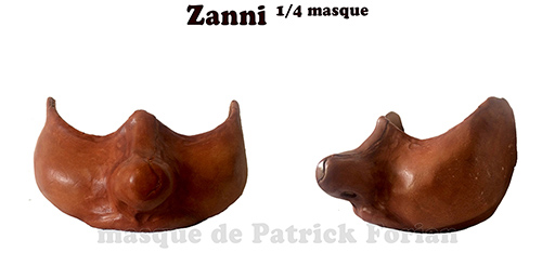Masque de Zanni, personnage de la commedia dell'arte - ev version quart de masque
