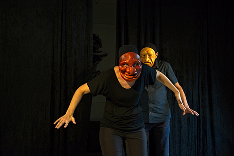 Expressive masks workshop, improvised scene in duo with the masks of Grül and Edgar made by Patrick Forian